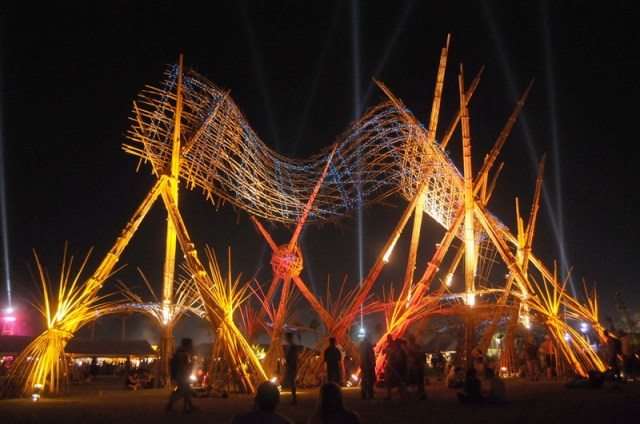Bamboo DNA's 'wave' structure at the Coachella Festival, California, (USA)