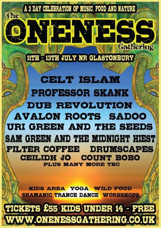 Flyer for Oneness Festival in Glastonbury